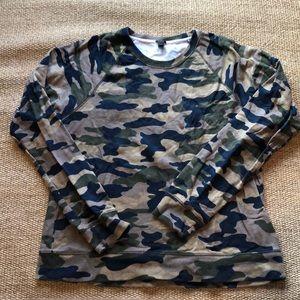 J Crew printed Camo sweatshirt Sz XL